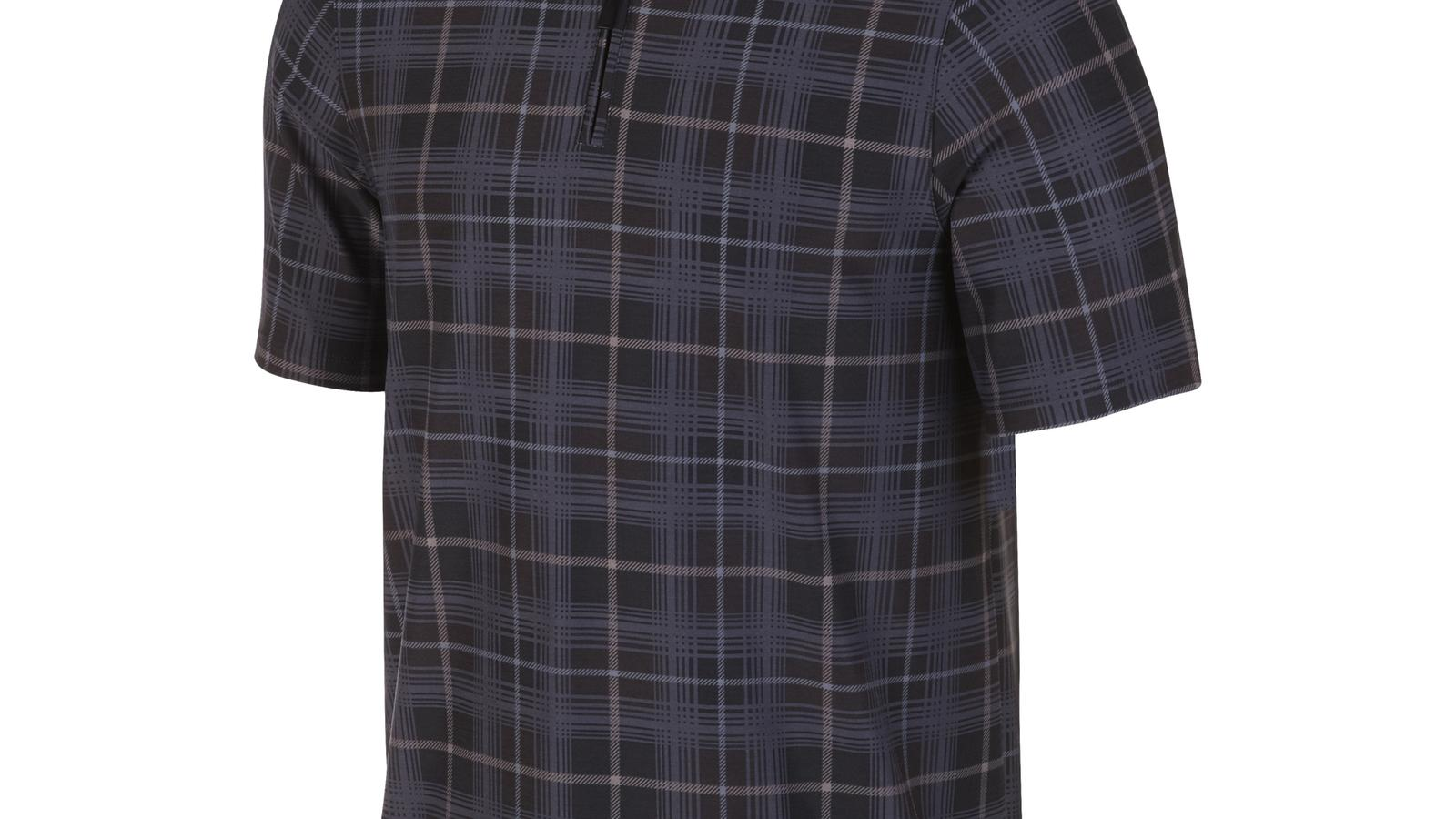 premium-half-zip-plaid-polo-black