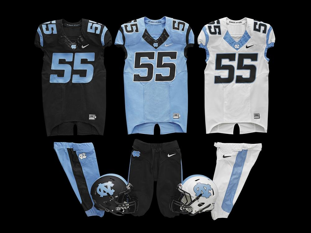 North Carolina Unveils New Football Uniforms at Spring Game