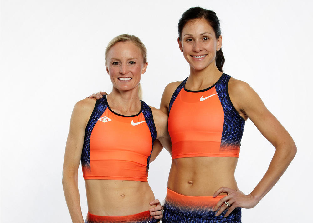 Shalane Flanagan and Kara Goucher compete in custom Nike race wear in Boston