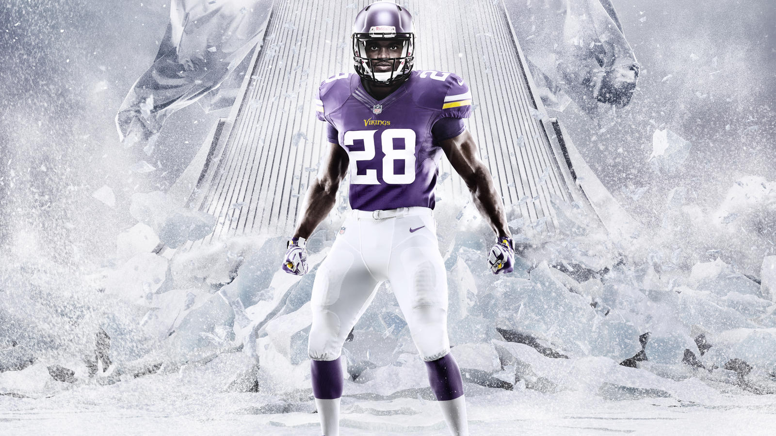 Adrian Peterson wears the Minnesota Vikings NFL Nike Elite 51 Uniform