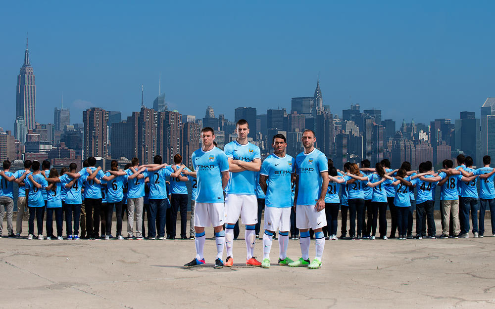 Nike Unveils First Manchester City Home Kit on New York Tour