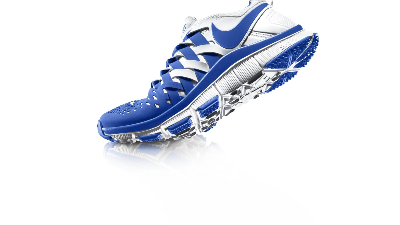 nike free trainer 5.0 blue and white