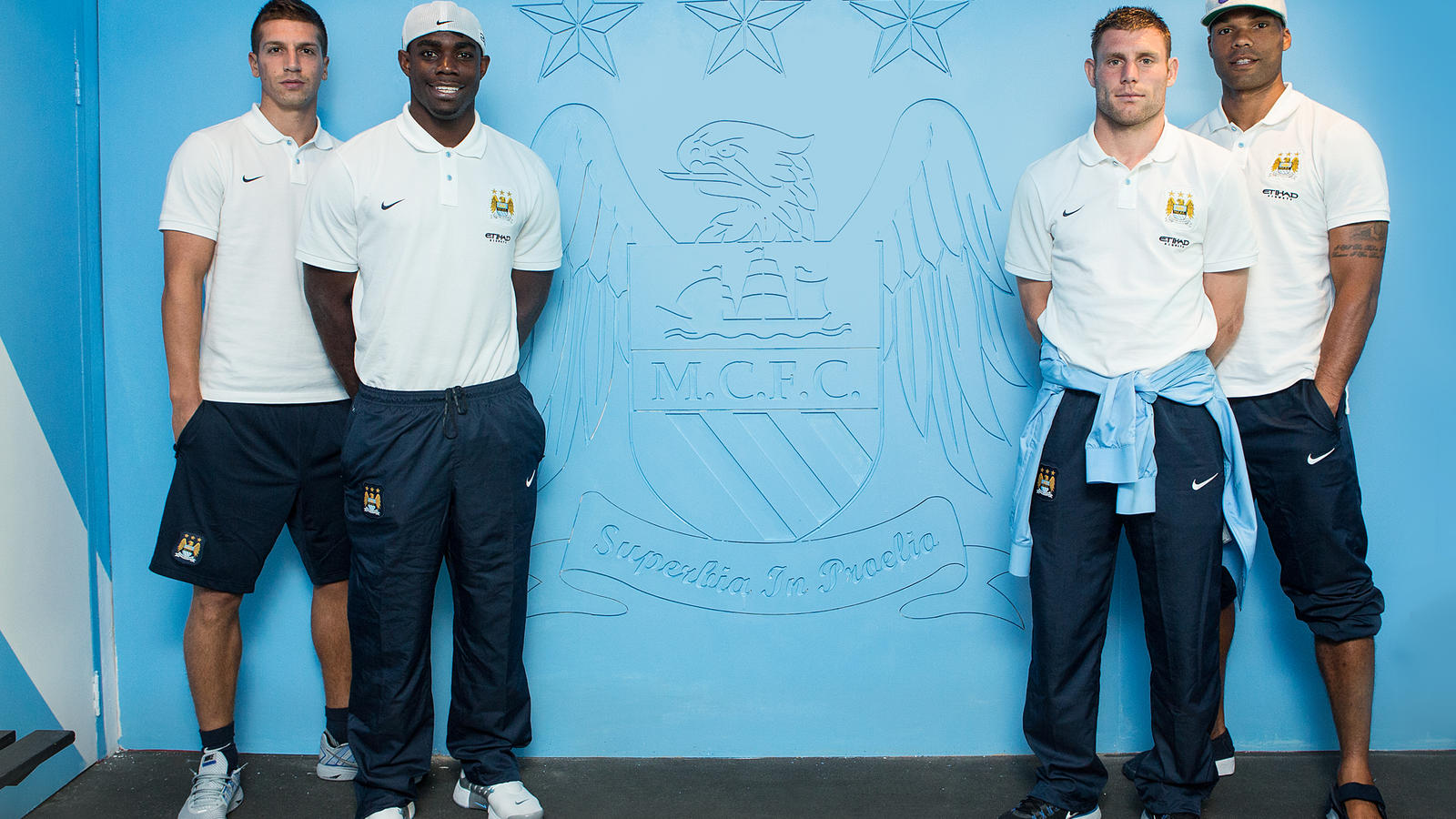 Manchester City players unveil their branded locker in Soweto