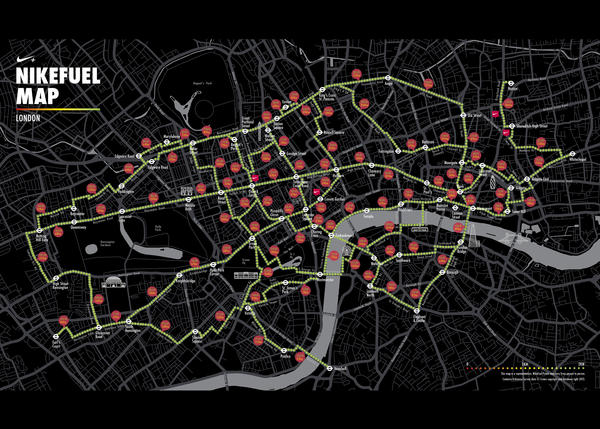 Nike inspires Londoners with the NikeFuel Map