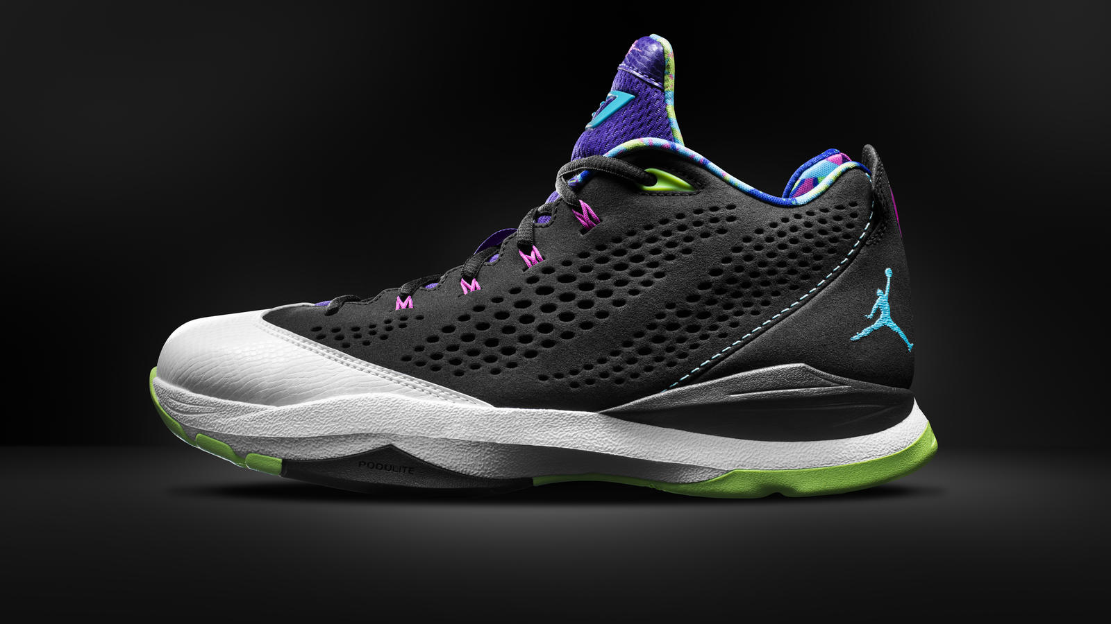 save off 2cc86 89565 Jordan CP3.VII Black White-Flash Lime -Lateral View
