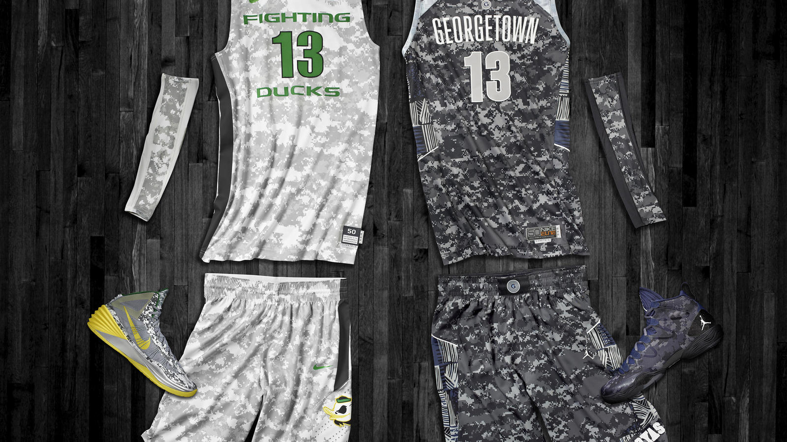 Oregon and Georgetown Hyper Elite Uniforms for Armed Forces Classic