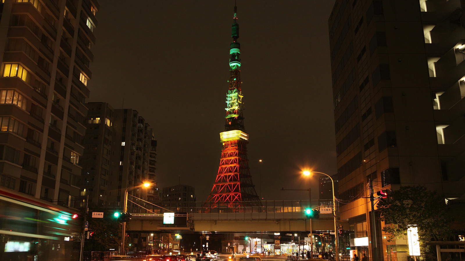 Tokyo Tower lit in NikeFuel colors from afar