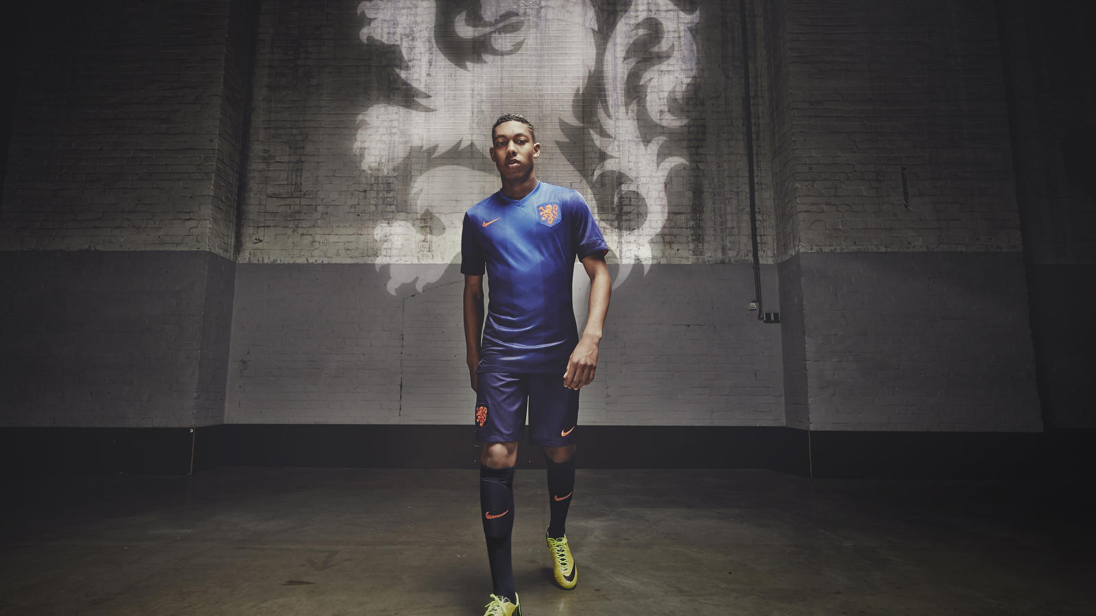 National team player Jean-Paul Boëtius  in the new Dutch away kit