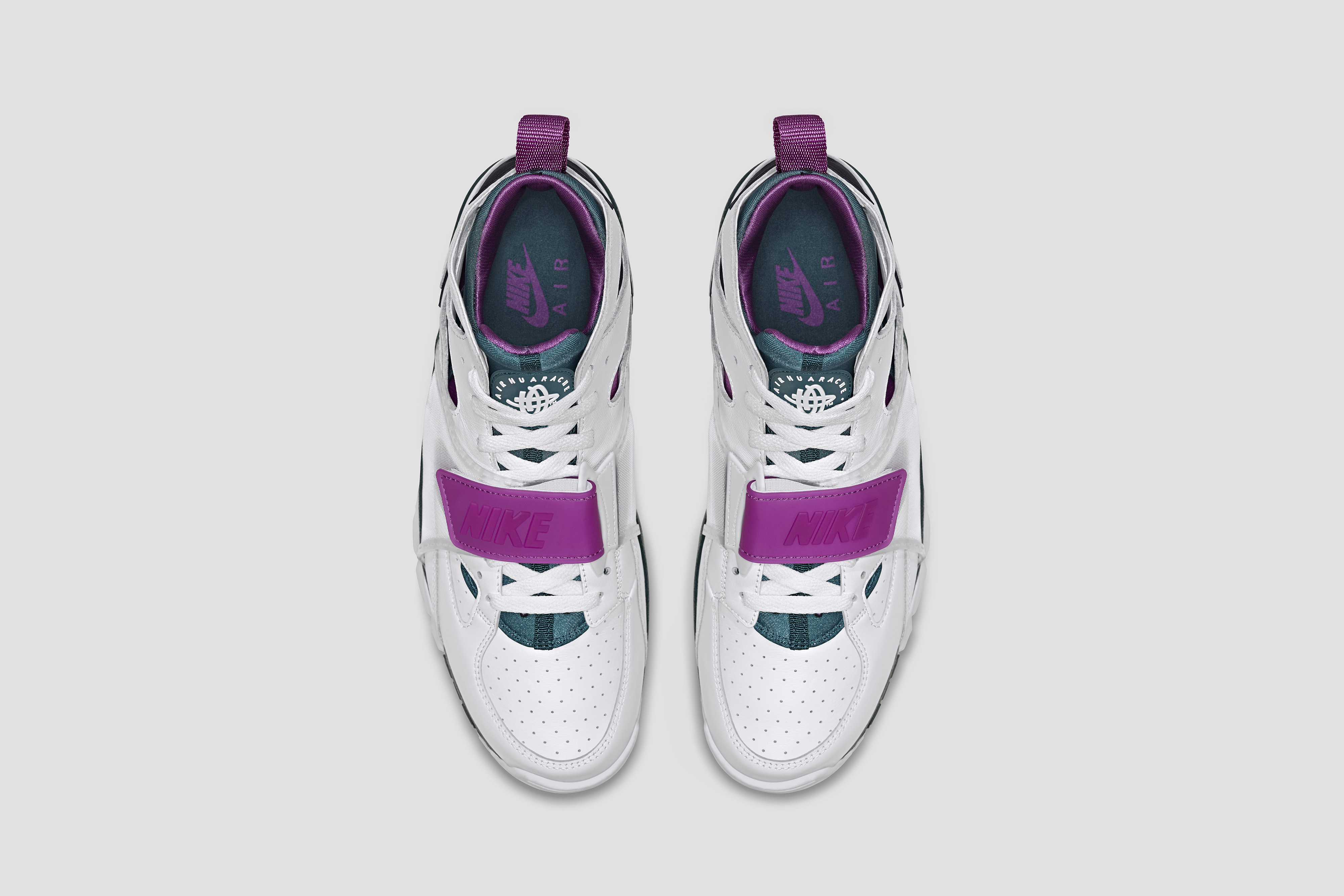 nike huarache purple green
