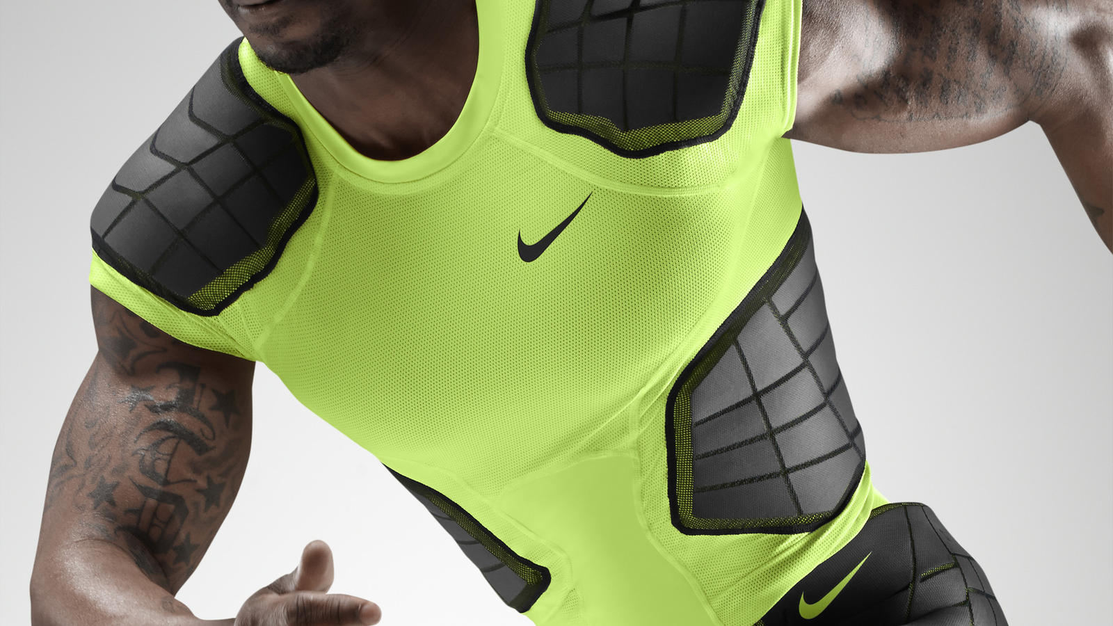 As the game of football accelerates, Nike Pro Combat Hyperstrong evolves  for better protection