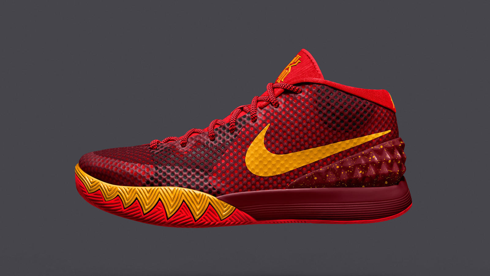 097998ca0d6c Sp15 NikeiD Kyrie 1 2058x1570 CrimsonTeamRed. KYRIE 1 NIKEiD custom  colorway being worn by Kyrie Irving in Brooklyn.  Sp15 NikeiD Kyrie 1 2058x1570 BlackVolt