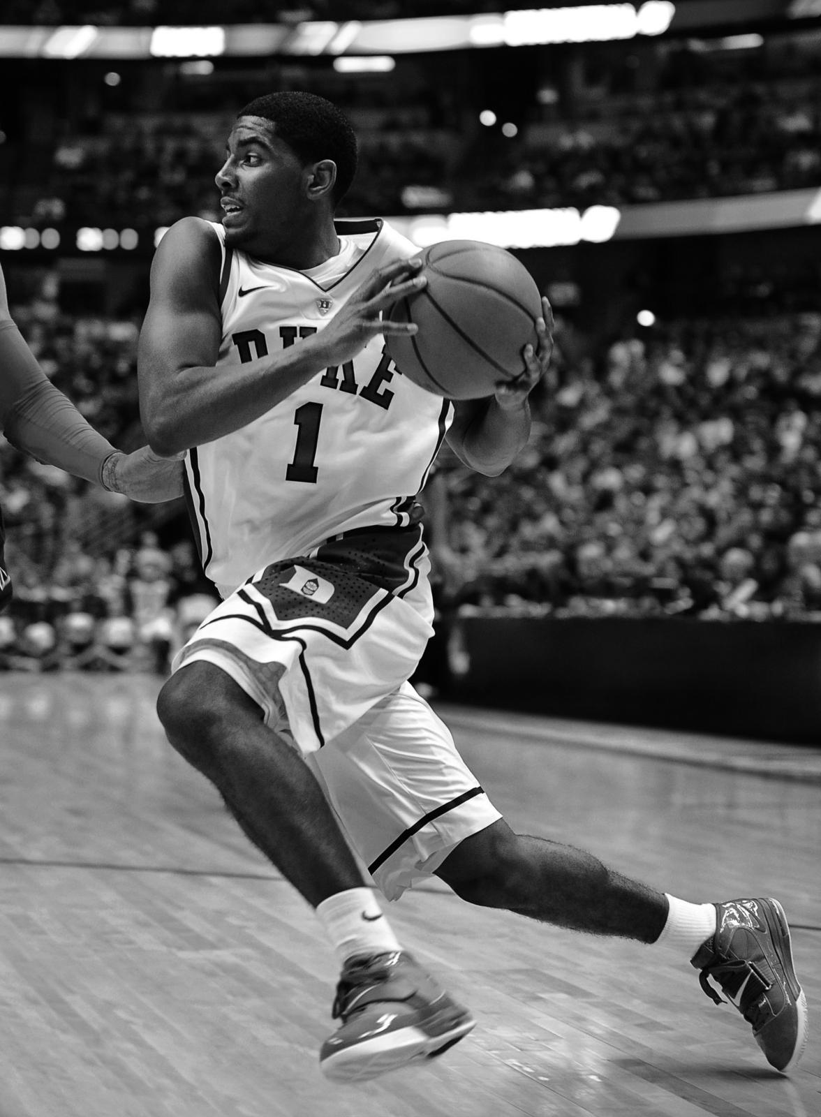 Kyrie Irving as a freshman at Duke University wearing the LEBRON Soldier IV  shoe.