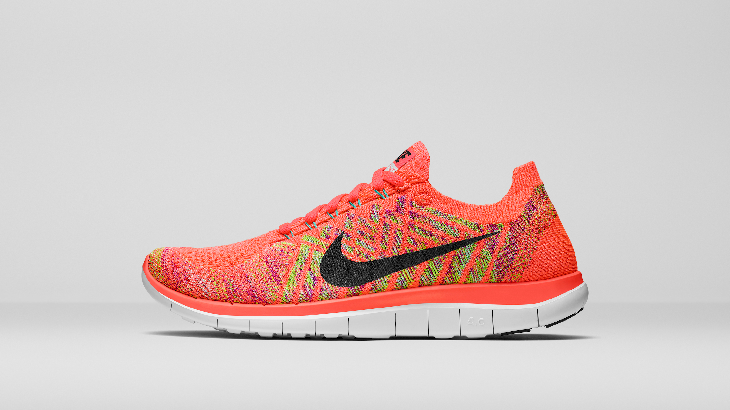 nike womens free 4.0 flyknit white multi colored led tree