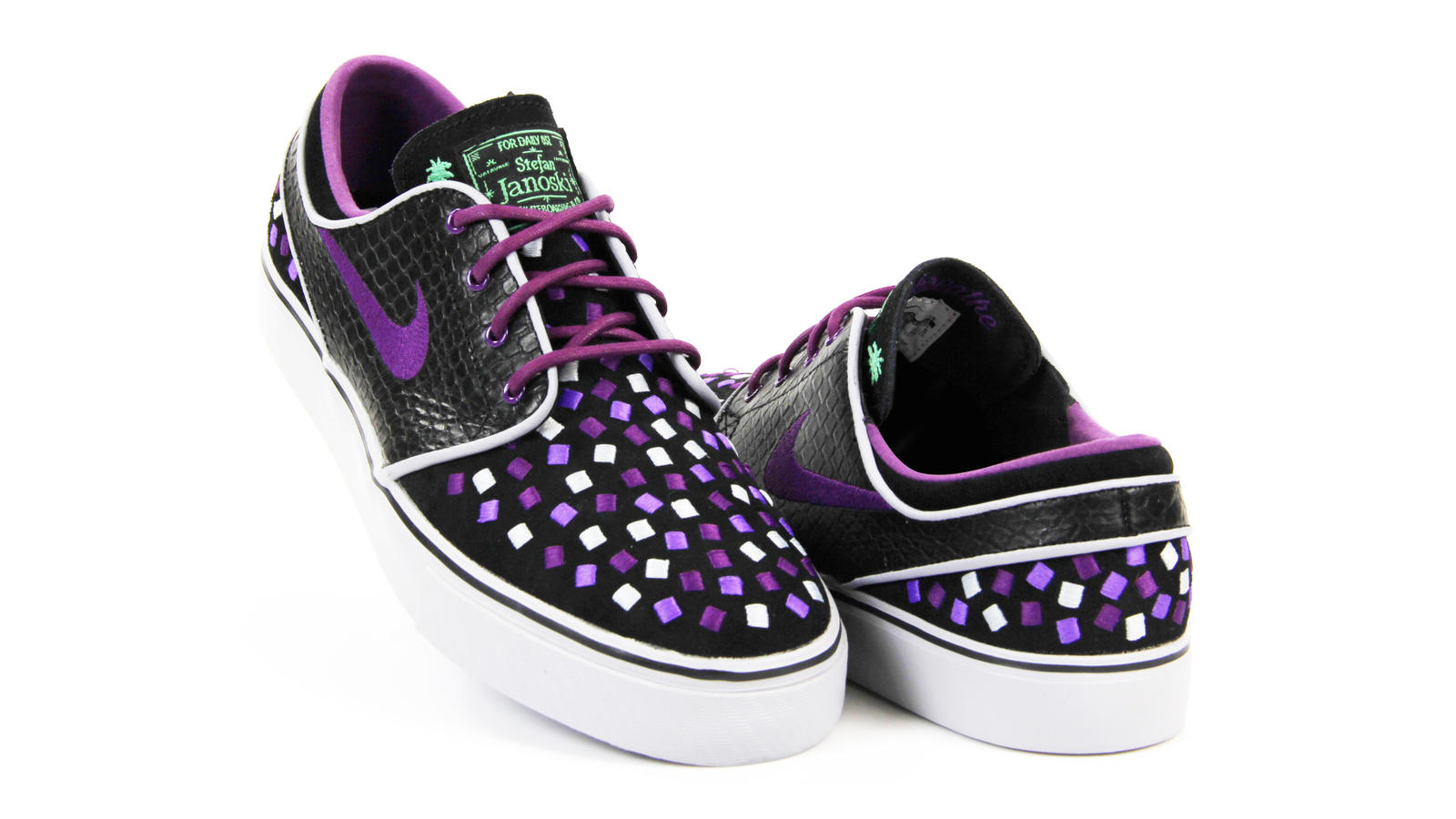 Ross Hathaway, 2013 Nike Air Zoom Janoski: Snakeskin print on right medial quarter, purple cupsole stitch on left shoe, embroidered squares on left medial quarter