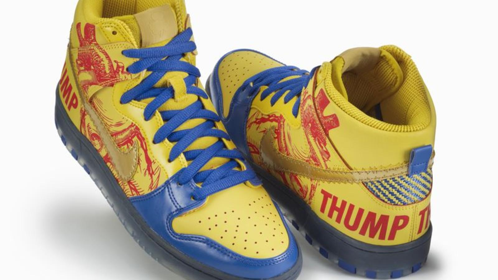Finnigan Mooney, 2012 Nike Dunk High SB: Heart Thump graphic on right lateral foxing, surgical stitch swoosh on left shoe, black & yellow carbon fiber on left heel bellows, left shoe tongue binding
