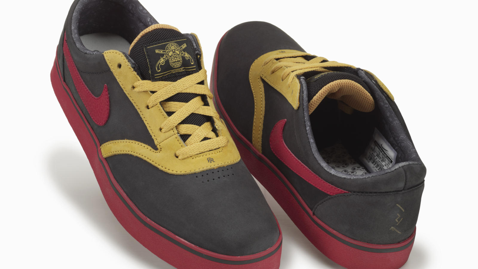Anthony Roletto, 2011 Vulc-Rod: Red pebbled leather right lateral eyestay, yellow suede on left medial eyestay, pirate tongue top label on left shoe, kidney drawing on left collar lining, fighting cancer original artwork on left tongue lining,