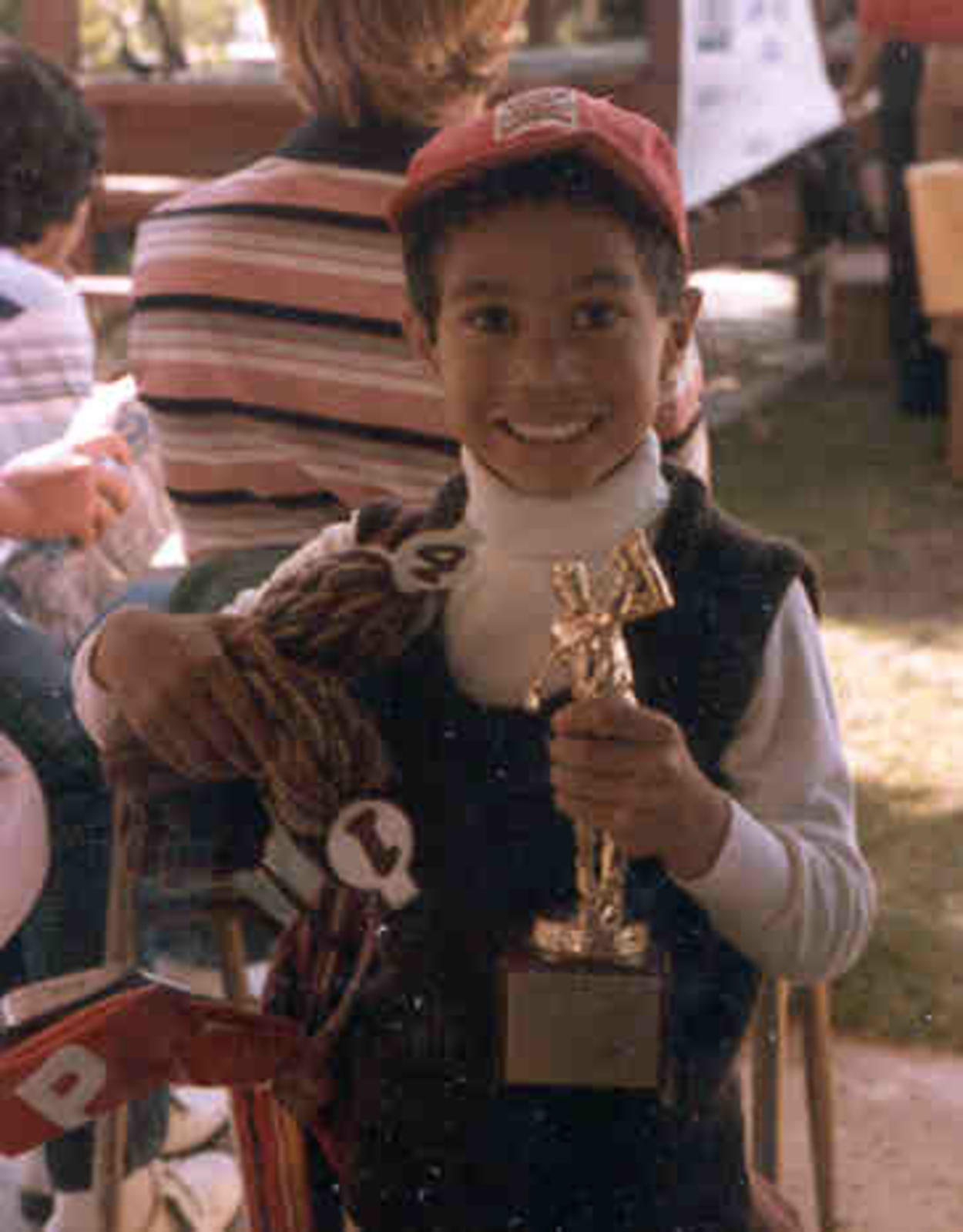 Young Tiger with trophy