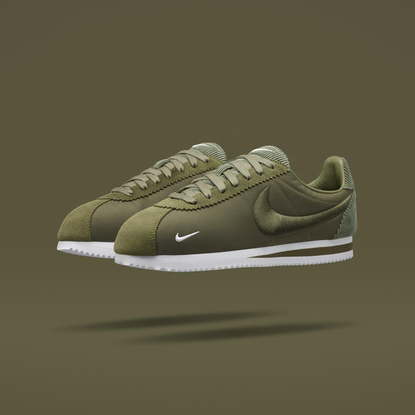 ... features premium oiled suede, nylon and corduroy uppers, and 3D  embroidered logos across five colorways of a modern version of the Nike  Cortez.