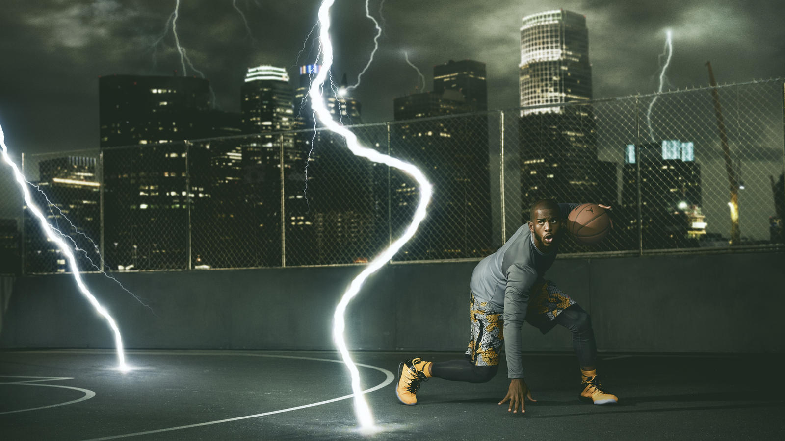 Chris Paul in the Jordan CP3.IX Yellow Dragon