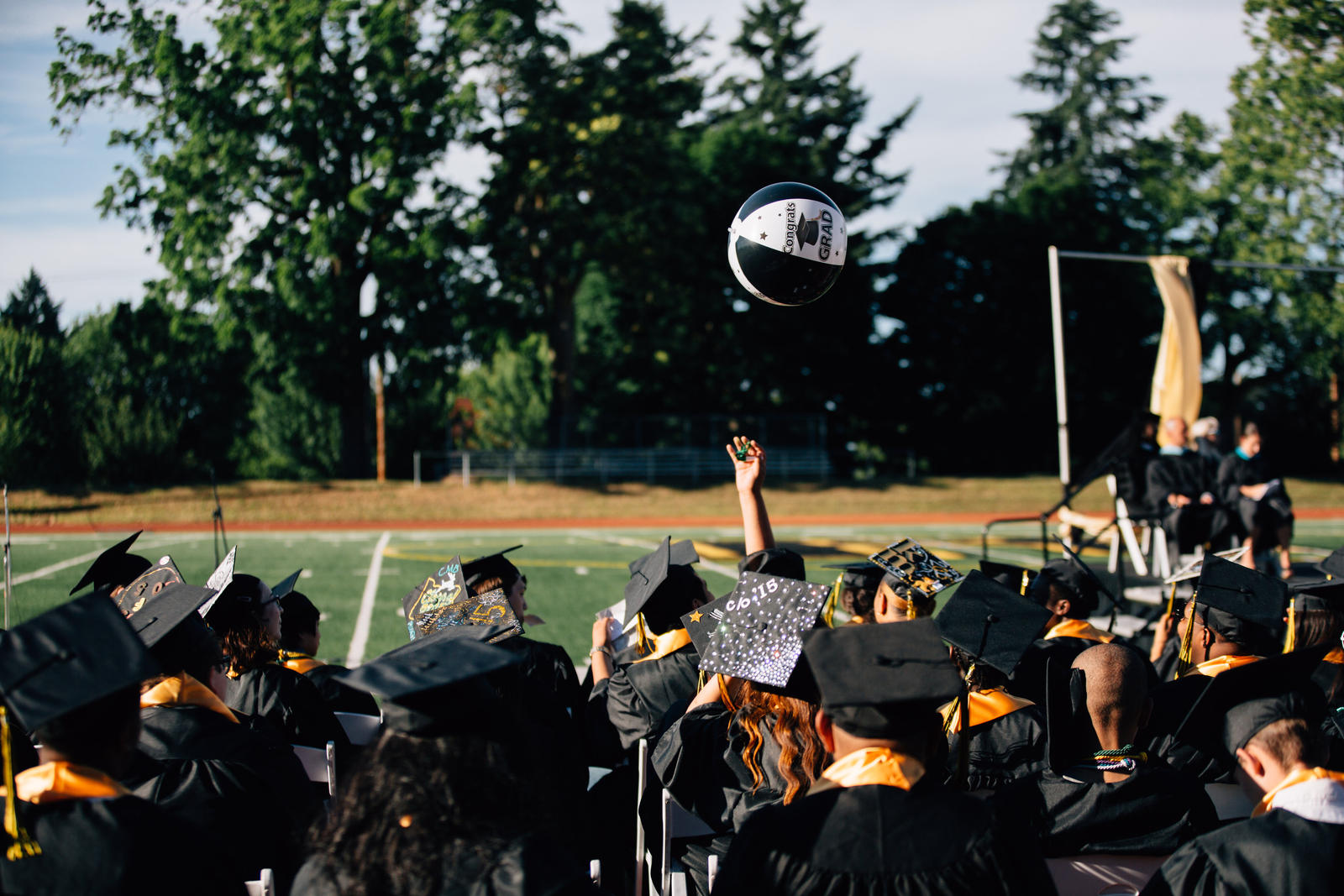 Roosevelt High School class of 2015 celebrates graduation.  Roosevelt is one of 50 High Schools that will receive year-two funding from NSIF, helping students graduate on time and preparing those students for success after high school.