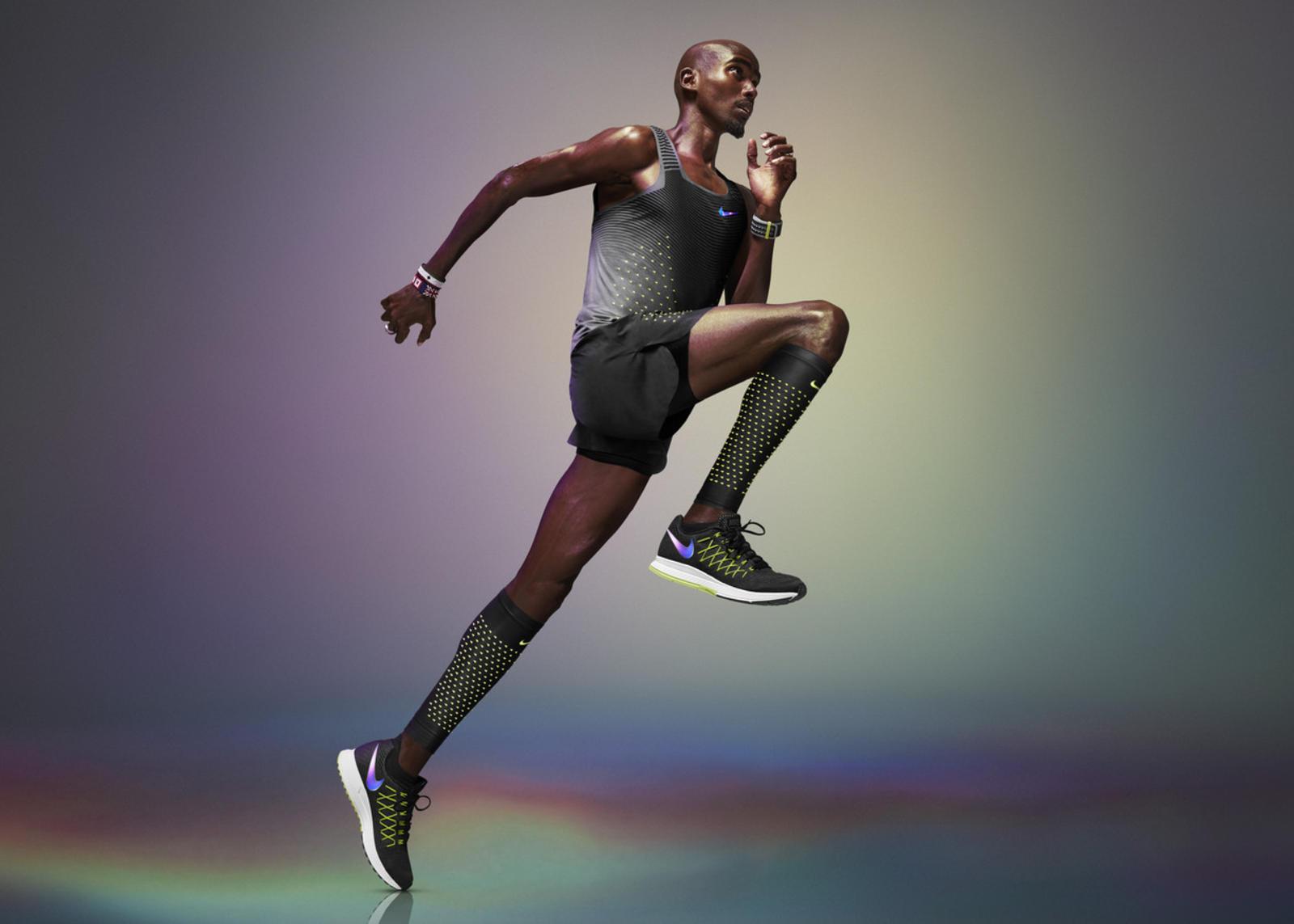 Mo Farah wearing Nike Vapor Track & Field Kit with AeroSwift Techology