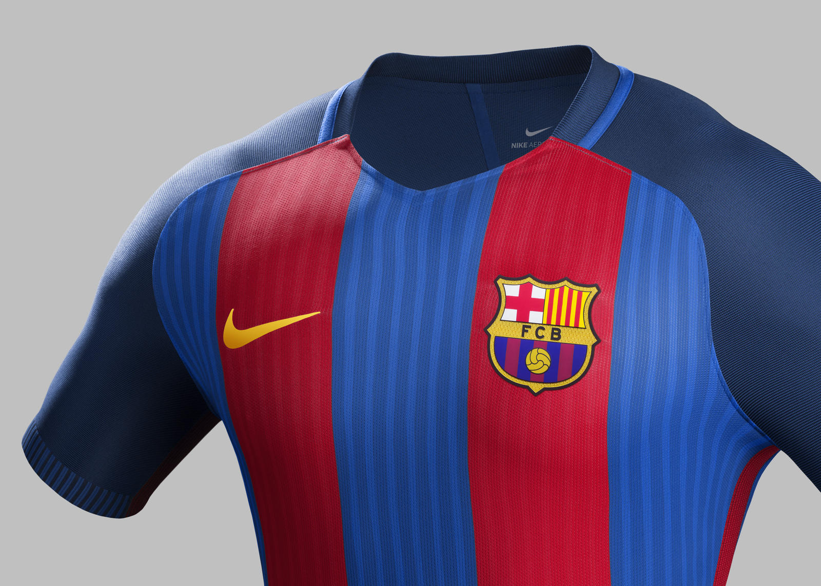 2f8d71e60b23 Su16 CK Comms H Front Match FCB R. FC Barcelona home kit 2016-2017.  Su16 CK Comms H Crest Match FCB R
