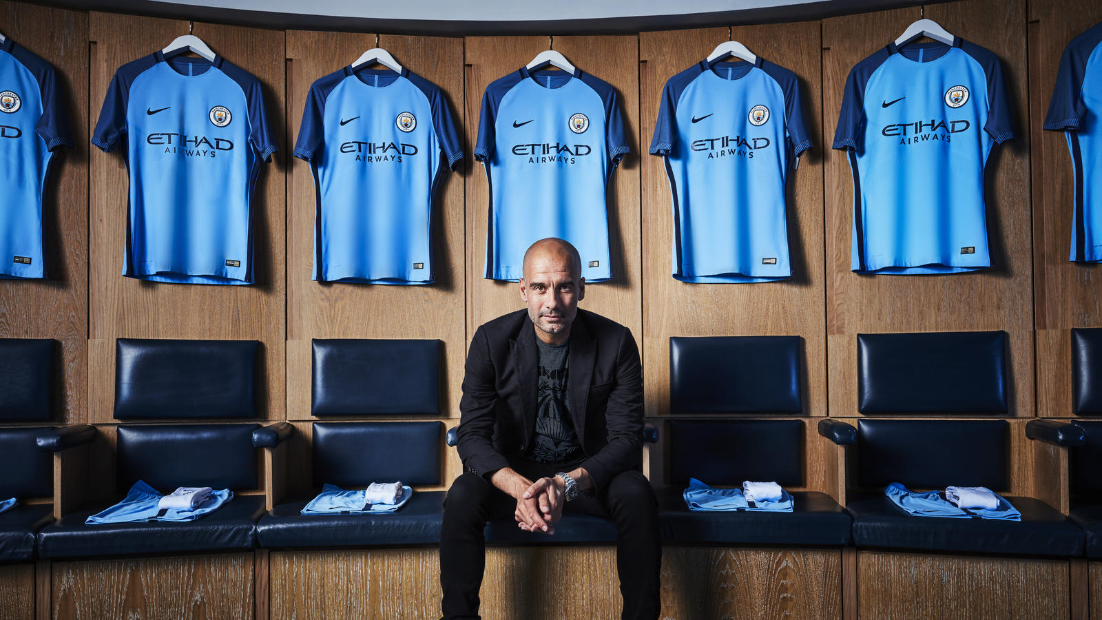 b8176560a NIKE Manchester City Guardiola. Manchester City manager Pep Guardiola and  the 2016-17 Manchester City home kit. NIKE Manchester City Athletes01