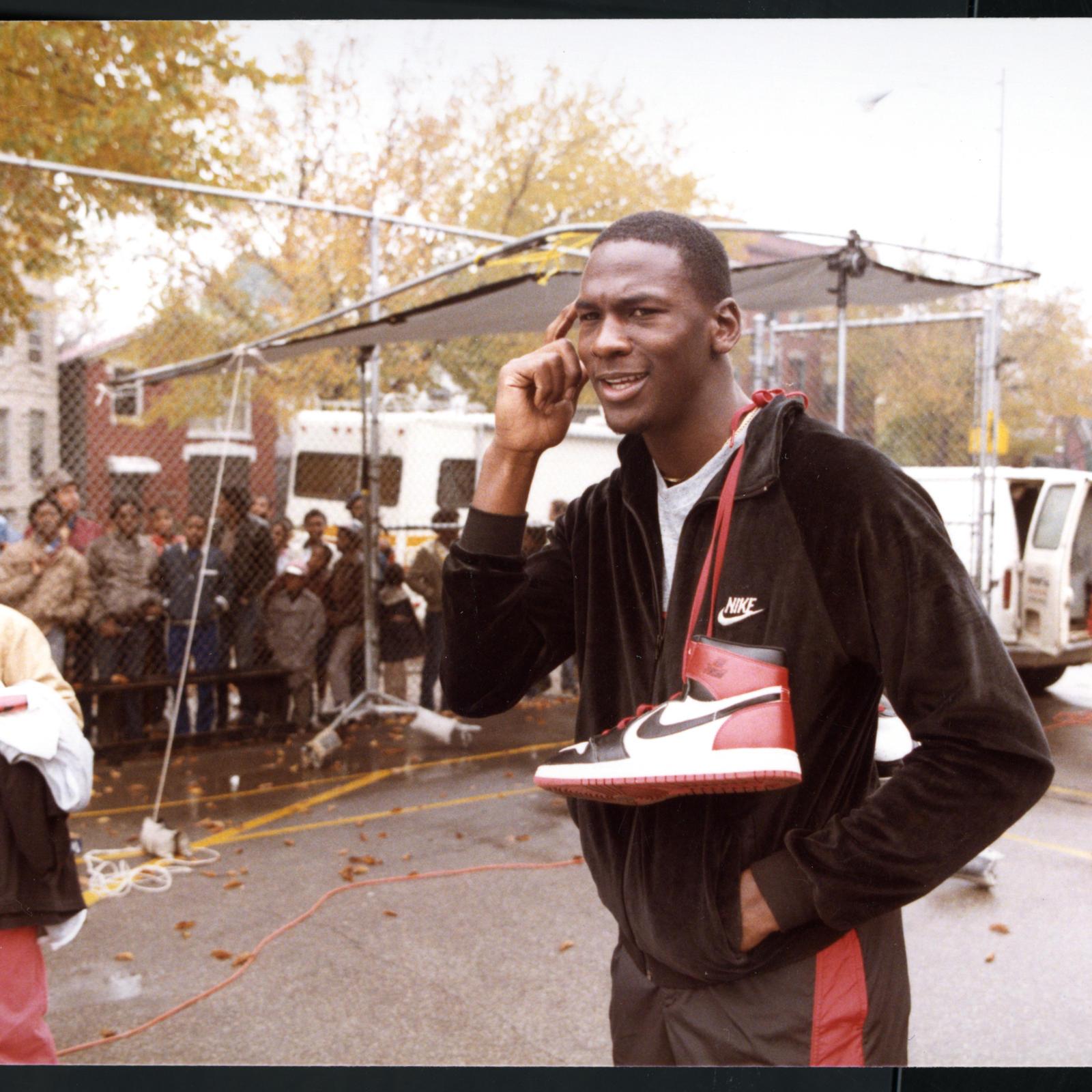 Michael Jordan on the Air Jordan I shoot