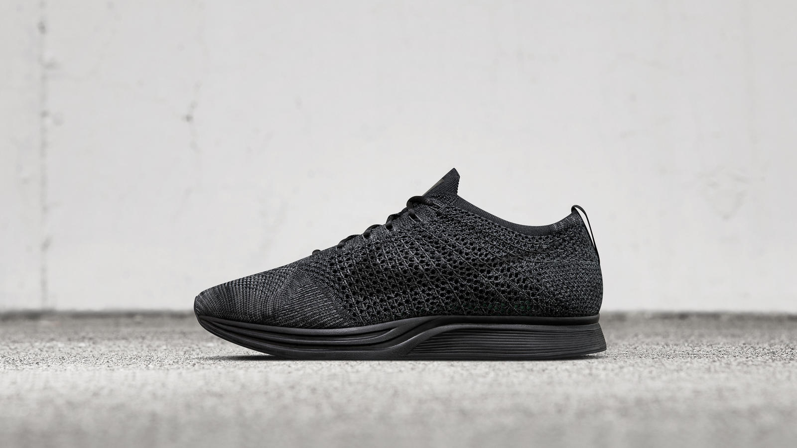 Discount Nike Flyknit Racer 2017 Black White-White Running Shoe For Sale