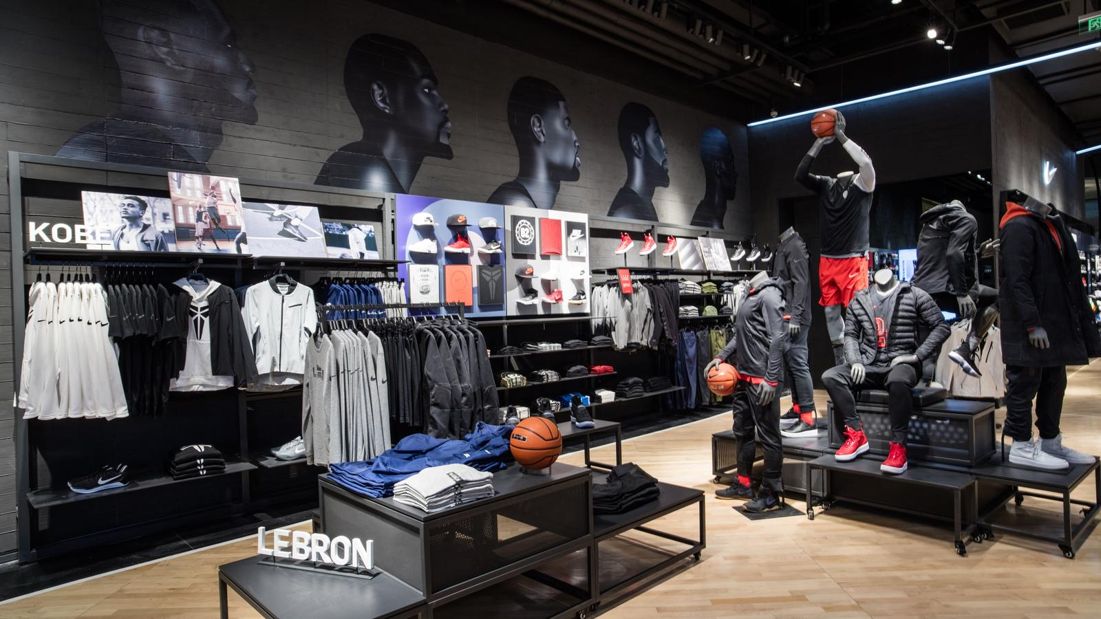 Nike Basketball Apparel Display Painted Portraits Of LeBron James Kevin Durant Paul George Kyrie Irving And Kobe Bryant Sit Above The Latest