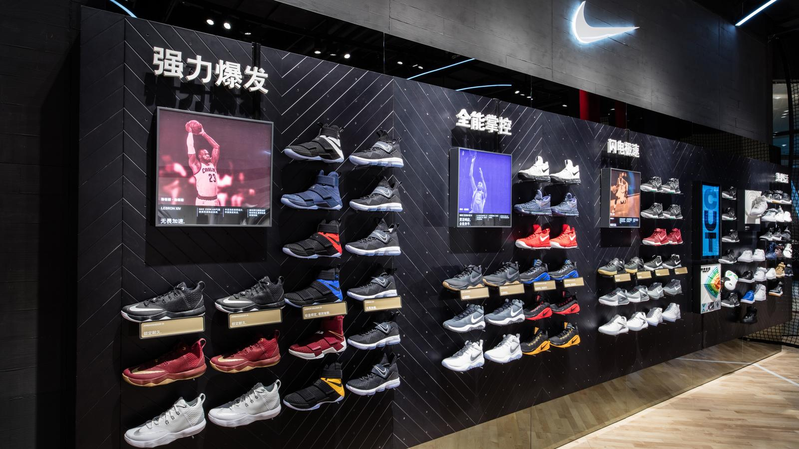 Nike Basketball Footwear Wall: The Nike & Jordan Basketball Experience Store  offers the latest in Nike Basketball and Nike Sportswear product on the  first ...