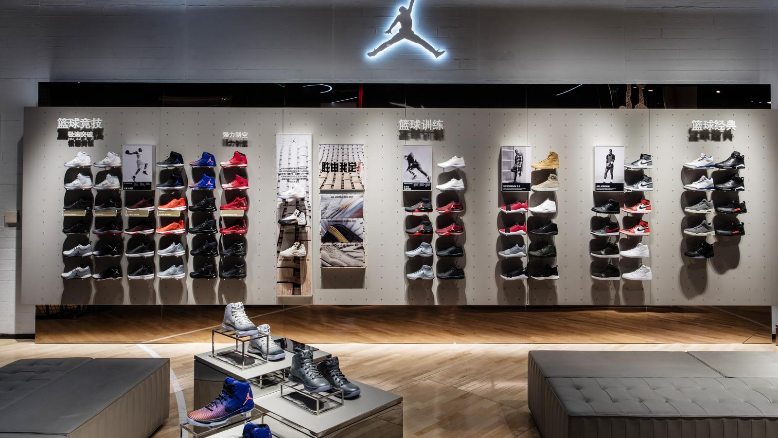 Jordan Footwear Wall The Nike Basketball Experience Store Offers Latest In Product On First Floor Including A Variety Of Iconic