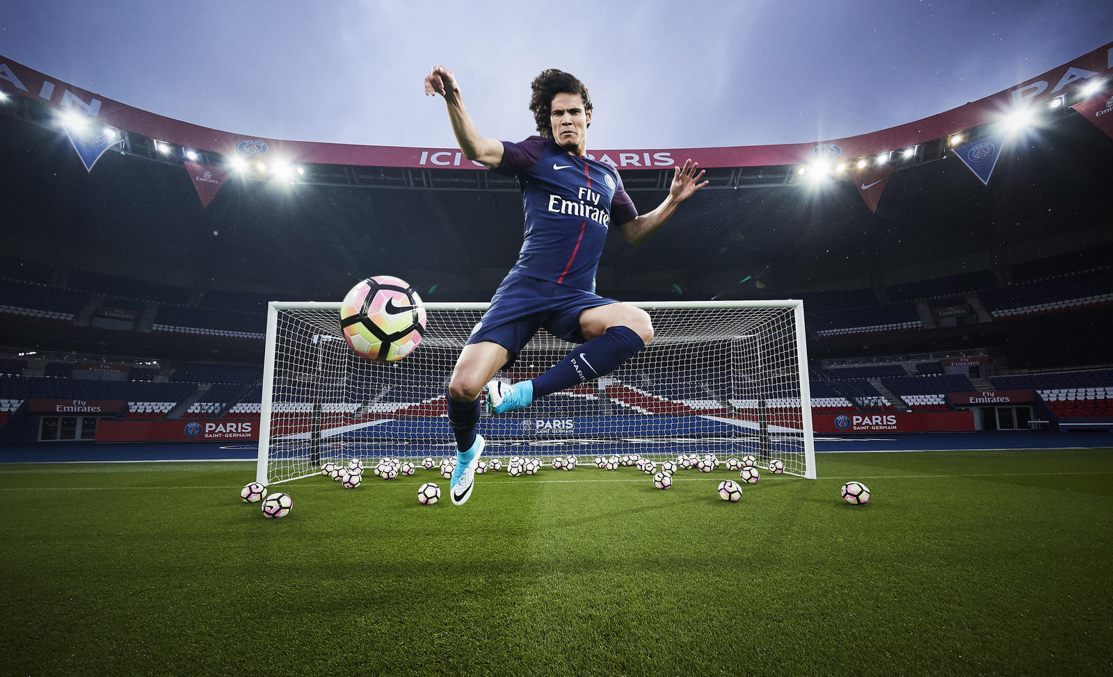 Edinson Cavani, leading goalscorer in France, with 49 goals in all  competitions, presents the new PSG home kit for 2017-18