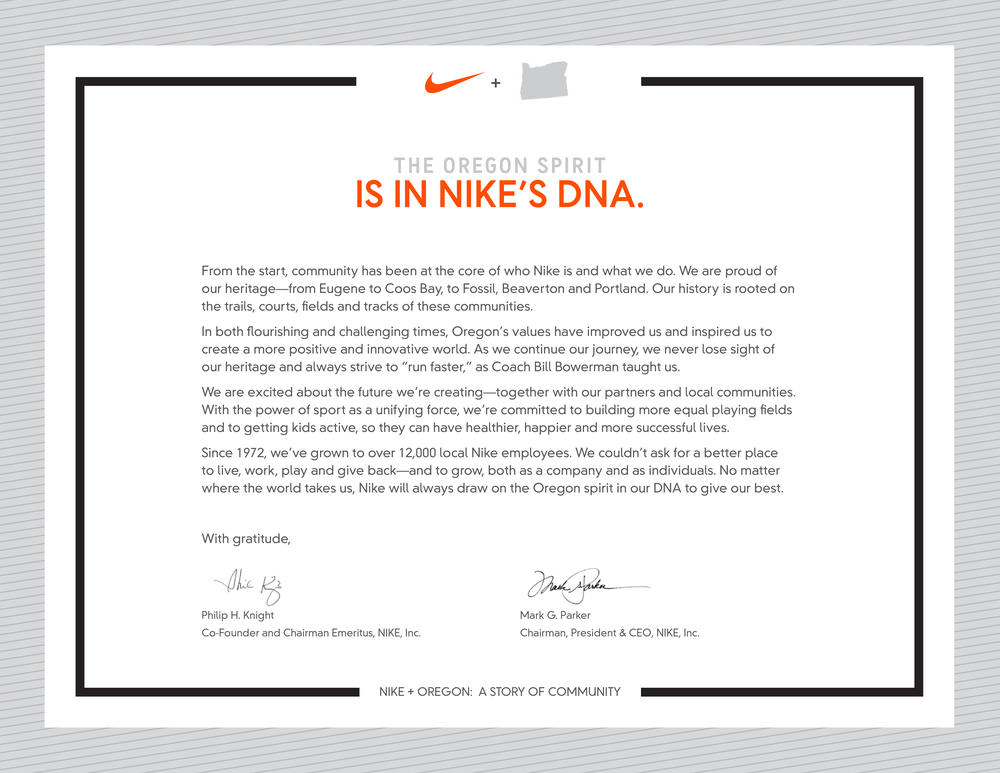Nike + Oregon: A Story of Community for 45 Years