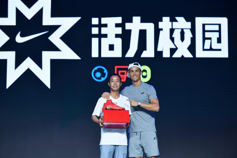 Cristiano Ronaldo Surprises Award Recipients in Beijing