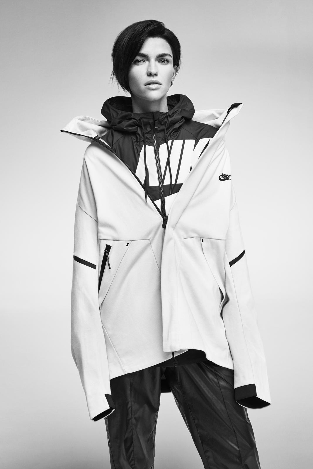 947a0cf0a8ad Nike Tech Pack FA17 4. Ruby Rose wears the Men s Nike Tech Fleece Repel  Windrunner ...