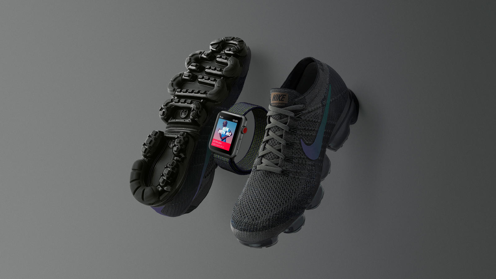 Run Stealth With Midnight Fog Nike Apple Watch and Nike Air Vapormax 1