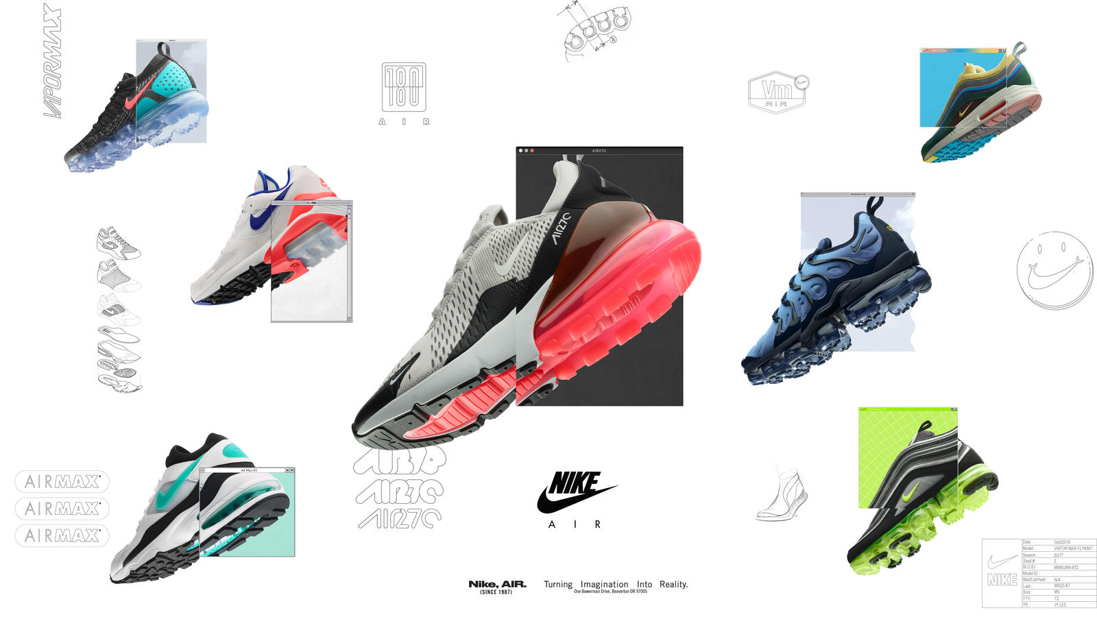 From top left Nike VaporMax Flyknit 2.0, Nike Air Max 93, Nike Air Max  180, Nike Air Max 270, Nike VaporMax Plus, Nike Air VaporMax 97 and Air Max  197 ...