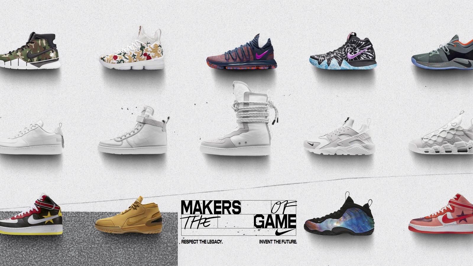 First row, from left: Kobe Protro x Undefeated, LeBron x KITH, KDX ASW,  Kyrie 4 ASW and PG2 ASW. Second row: 90/10 Pack. Third row, from left: Nike  x RT Air ...