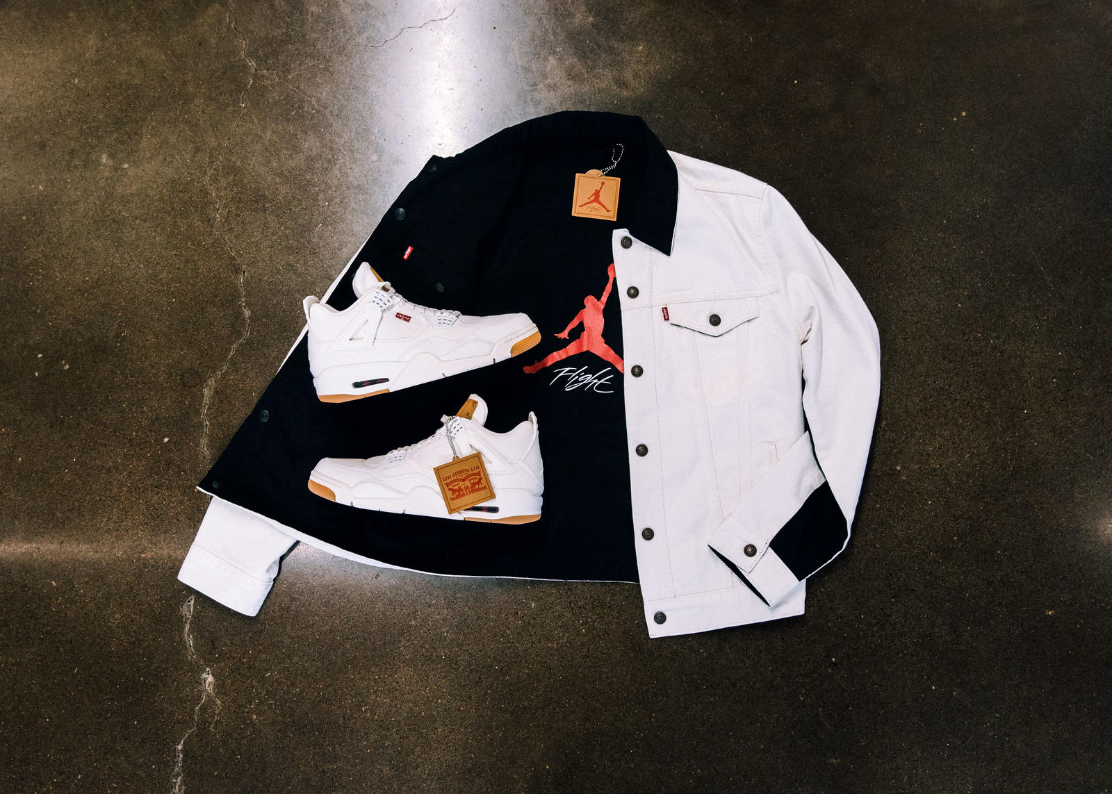 the second edition: JORDAN BRAND X LEVI'S® AIR JORDAN IV AND REVERSIBLE TRUCKER JACKET White and black 0