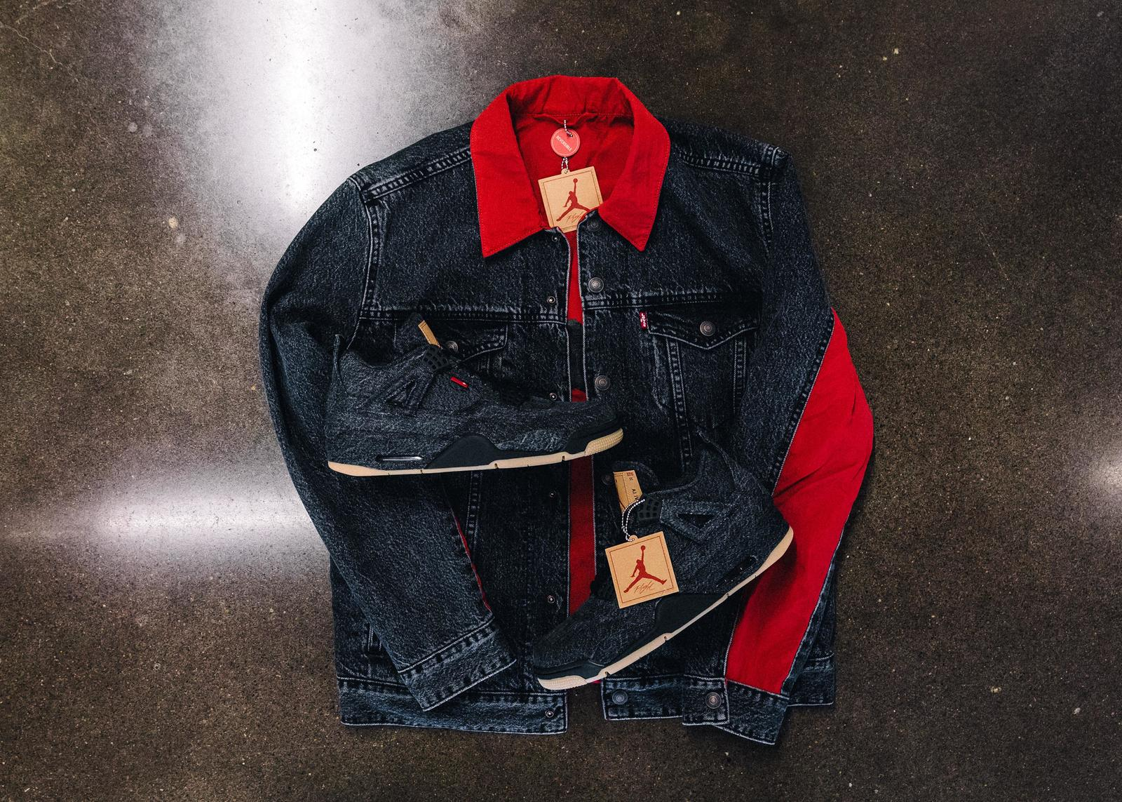 the second edition: JORDAN BRAND X LEVI'S® AIR JORDAN IV AND REVERSIBLE TRUCKER JACKET White and black 2