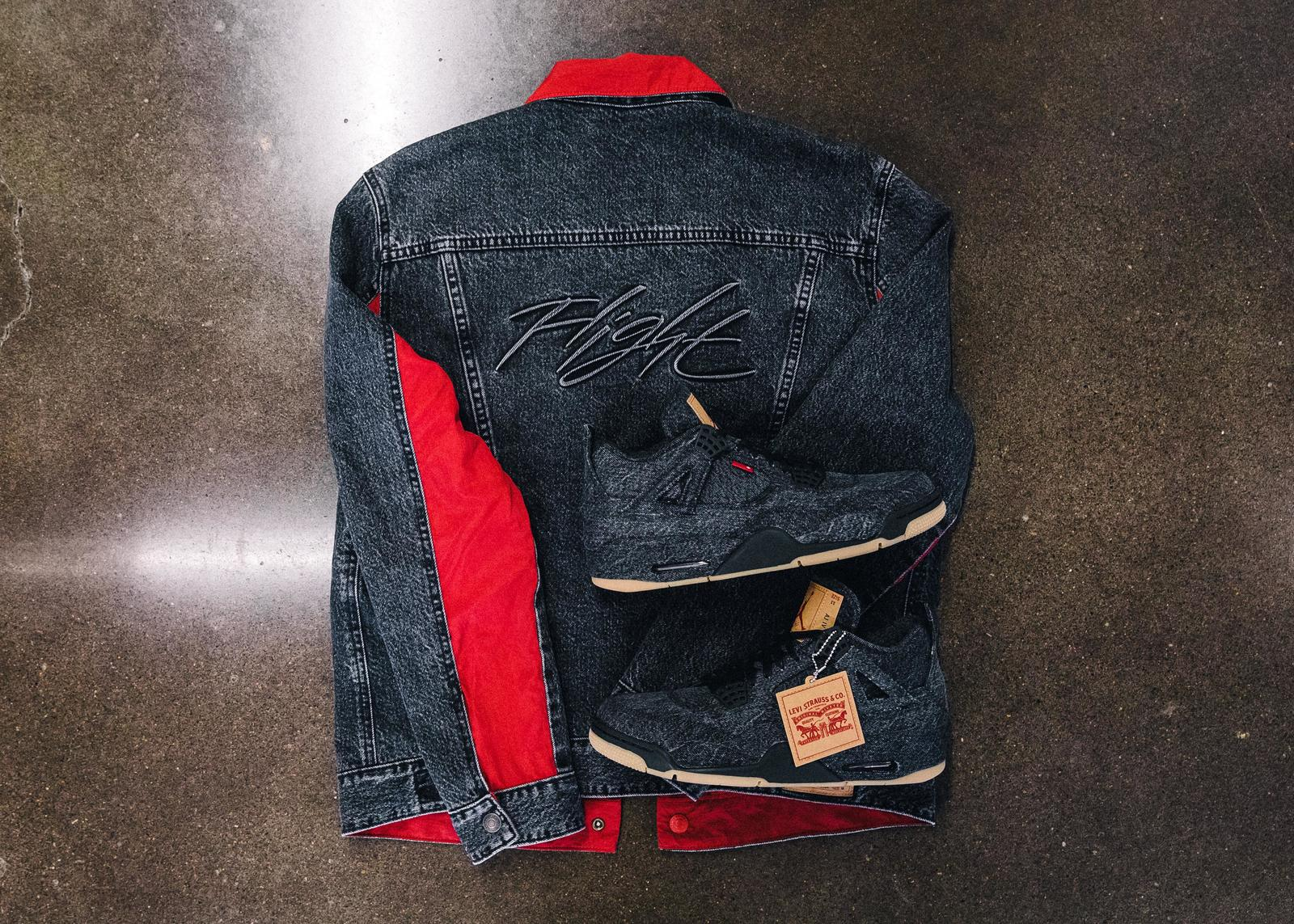 the second edition: JORDAN BRAND X LEVI'S® AIR JORDAN IV AND REVERSIBLE TRUCKER JACKET White and black 3