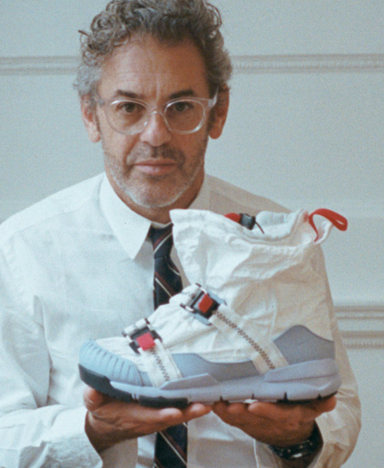 06265e753b80 How Tom Sachs  Impromptu Work as Wear-Tester Birthed a Whole New Shoe (. Tom  Sachs holds the Nike Mars Yard Overshoe.