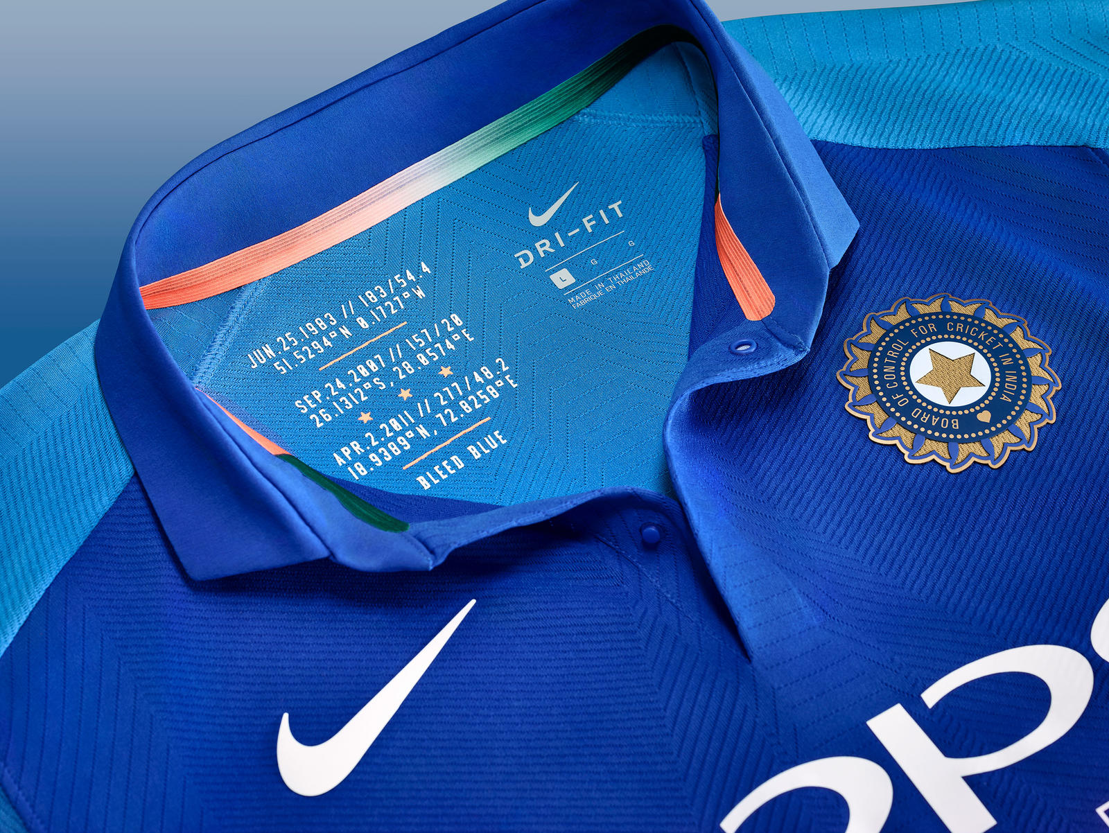 Nike Cricket India National Team Kits 2019 56751 386872 R04 56751 379132 Nike Apla Sp19 Cricket Mens Gameday Odi Match Top Inner Pride Neck Tape Detail 1116 Hr