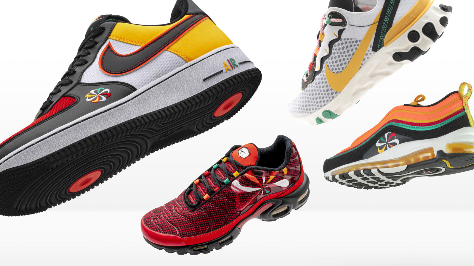 Nike and Footlocker Evolution of Swoosh Air Force 1, Air Max 97, Air Max Plus and React Element 55. 0