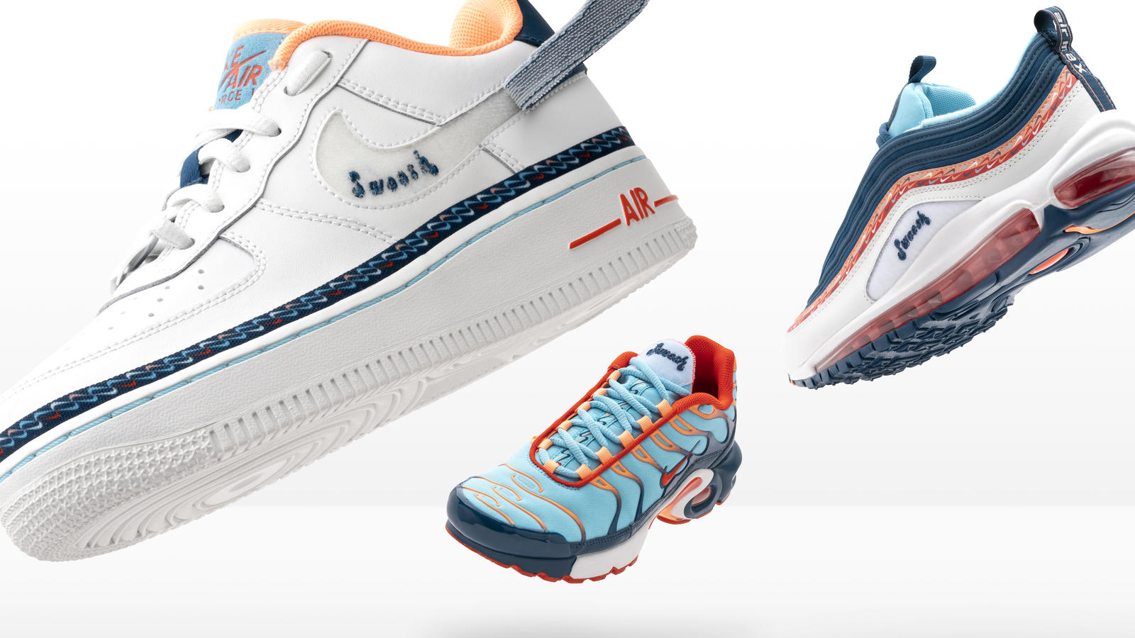 Nike and Footlocker Evolution of Swoosh Air Force 1, Air Max 97, Air Max Plus and React Element 55. 1