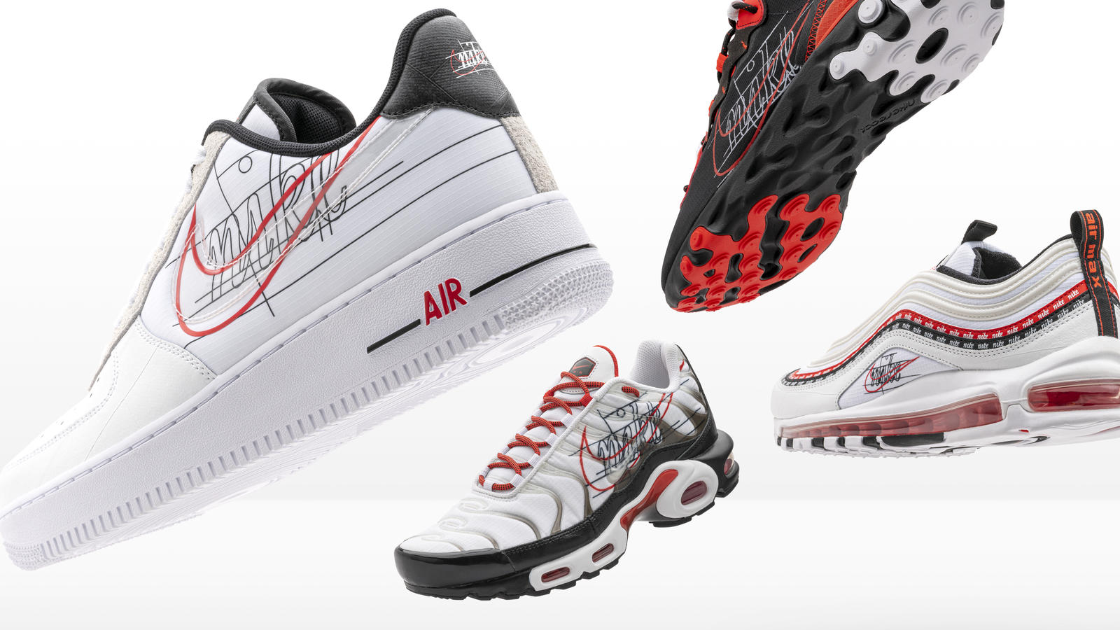 Nike and Footlocker Evolution of Swoosh Air Force 1, Air Max 97, Air Max Plus and React Element 55. 2