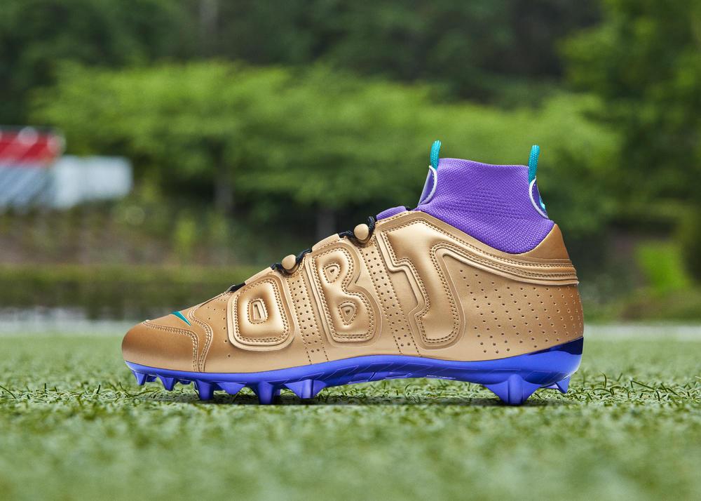 Nike Odell Beckham Jr. Pregame Cleats 2019-20 Season Air Jordan 5 Gold and Purple 0