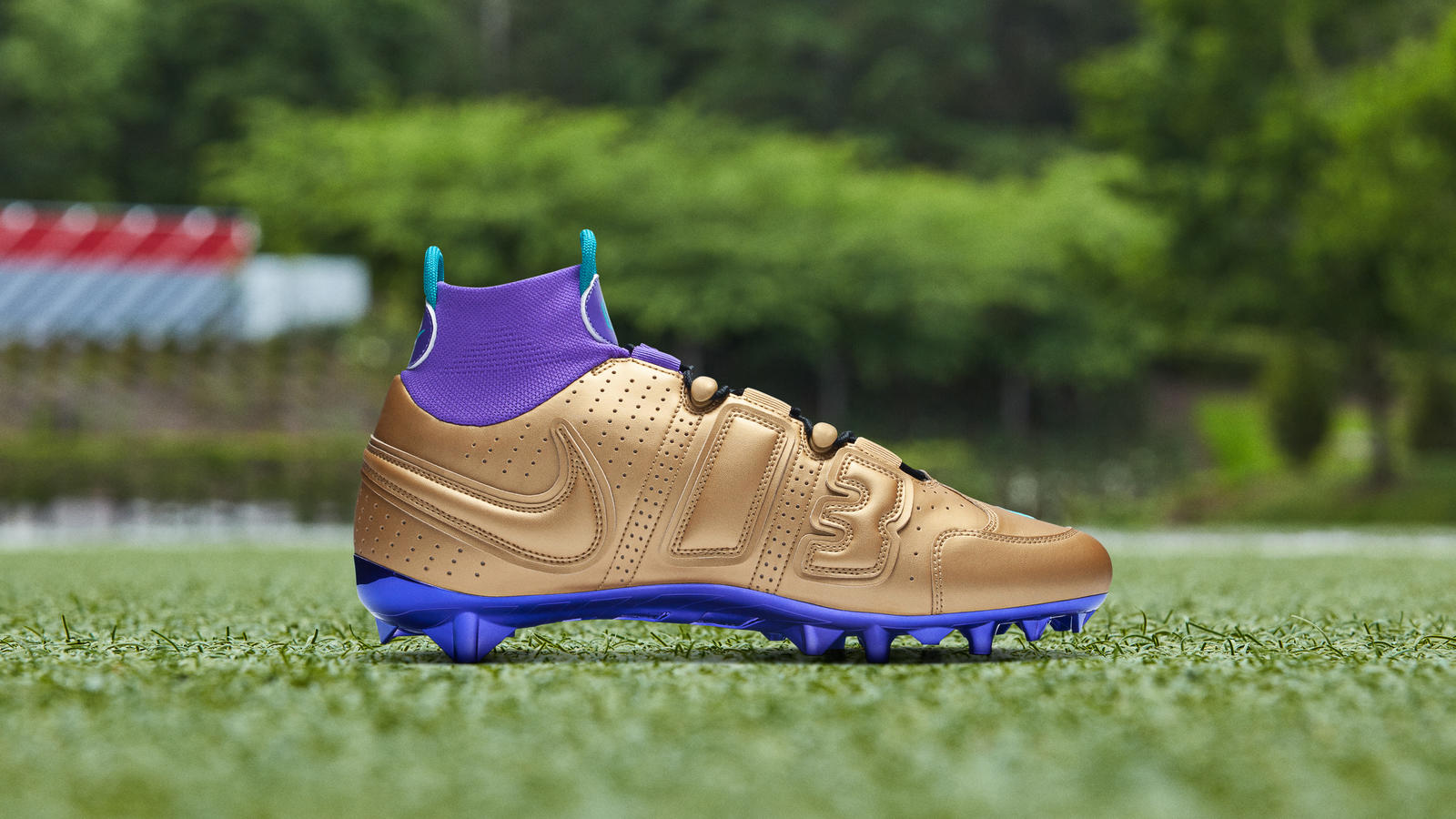 Nike Odell Beckham Jr. Pregame Cleats 2019-20 Season Air Jordan 5 Gold and Purple 1