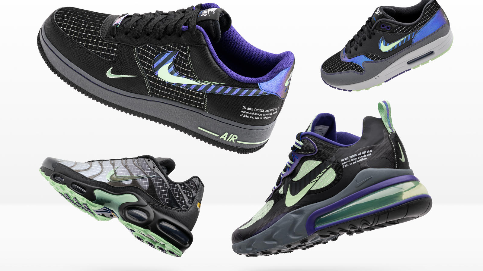 Nike and Foot Locker Inc. Evolution of Swoosh Chapter 2 Flight 89, Air Max 1, Air Max Plus, Air Max 200, Air Force 1, React 270, Air Max TN 0